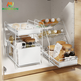 3 Tiers Sliding Drawer Organizer Racks Stainless Steel Under Sink Storage For Kitchen