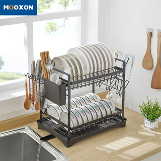 2 Tier Kitchen Drying Organizer Stainless Steel Plate Holder Dish Drainer Rack