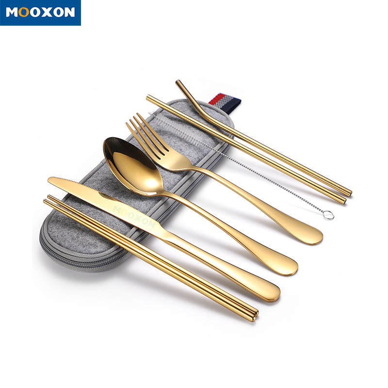 Best Selling 7-piece Flatware Silverware Set Stainless Steel Gold Cutlery