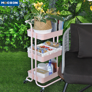 3 Tier Metal Rolling Storage Rack Trolley Mesh Home Organizer Kitchen Utility Cart