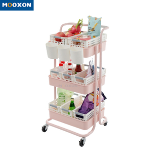 3 Tier Metal Utility Rolling Movable Storage Holder Cart Trolley Rack