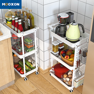 Kitchen Bathroom Storage Trolley Organizer Shelves Rolling Service Cart