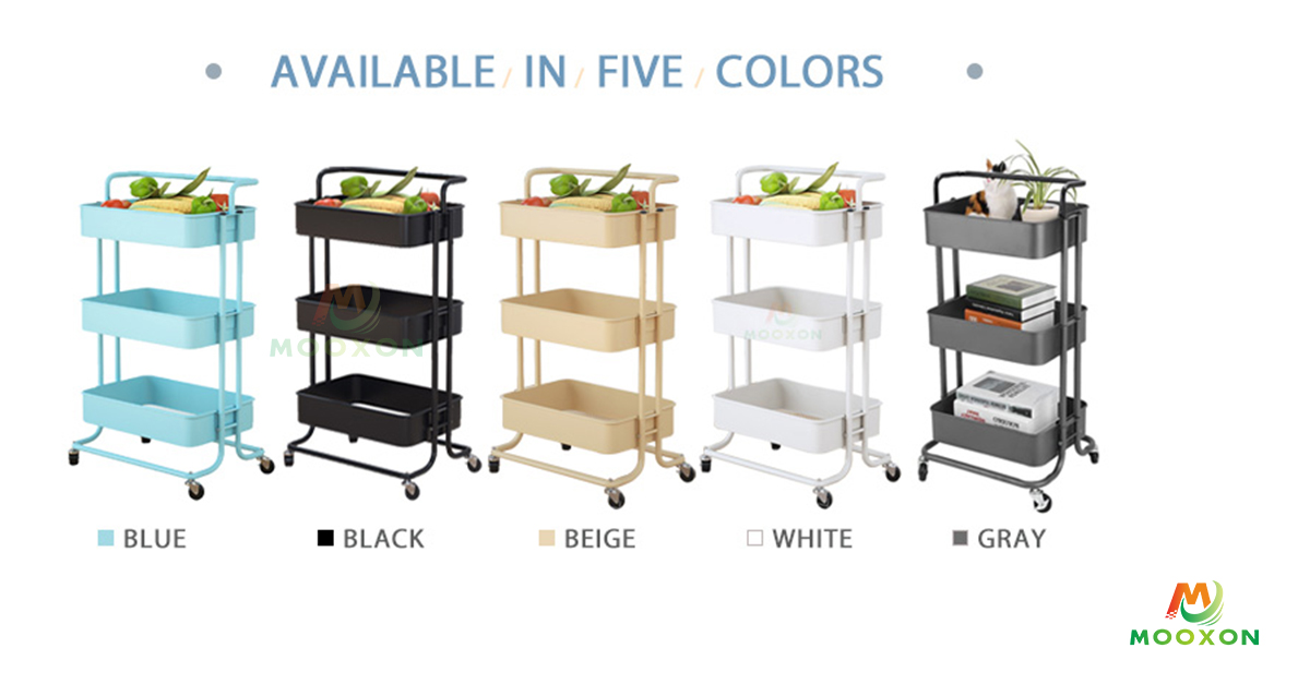 Multifunction 3 Tier Rolling Trolley Carts With Wheels