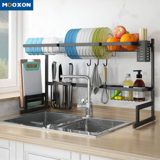 85cm Kitchen Storage Organizer Stainless Steel Drainer Stand Plate Holder Drying Over Sink Dish Rack