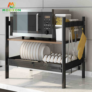 New Design 2 Tier Stainless Steel Dish Drying Racks Kitchen Microwave Rack