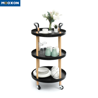 3-Tire Rolling Cart Baskets Utility Trolley Bathroom Storage Removable Shelves Kitchen Shelf
