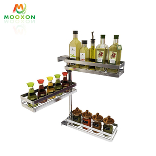Wall Hanging Kitchen Corner Rotation Spice Rack Adjustable Shelf Jars Bottle Organizer