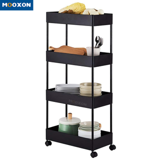 Metal Home 3/4/5 Tiers Book Shelf Trolley Cart Rack Kitchen Vegetable Fruit Storage Rack With Wheels