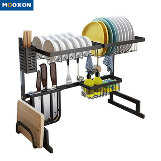65cm Dish Drainer Rack Plate Holder Black Stainless Steel Drying Dryer Stand Dishes Shelf Kitchen Sink Drain Rack