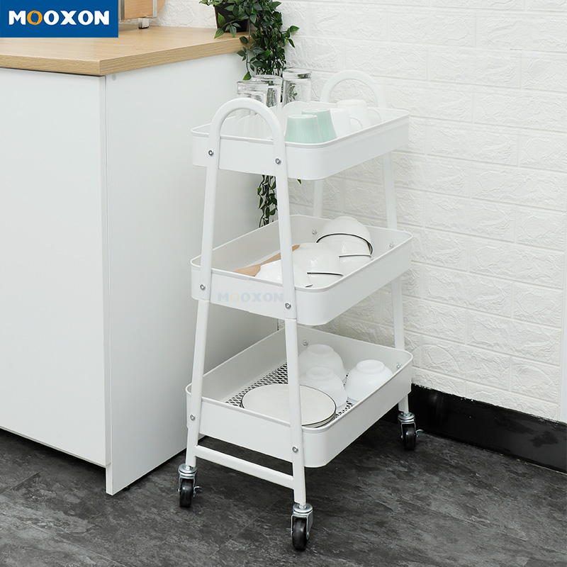 The Nordic Popular Home Organizer 3 Tier Metal Tools Storage Rolling Trolley Cart