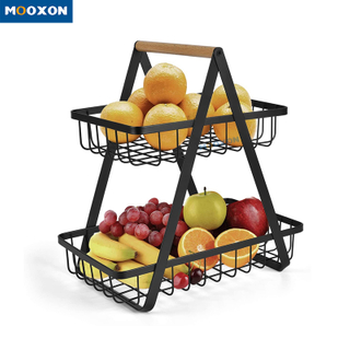Rust-Proof Multifunction Black Storage Baskets Organizer Kitchen Vegetable Storage Rack Basket