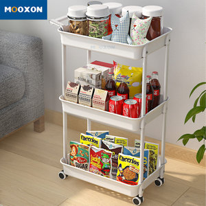 3-Tier Rolling Multifunction Cart Basket Shelving Trolley Bathroom Home Kitchen Storage