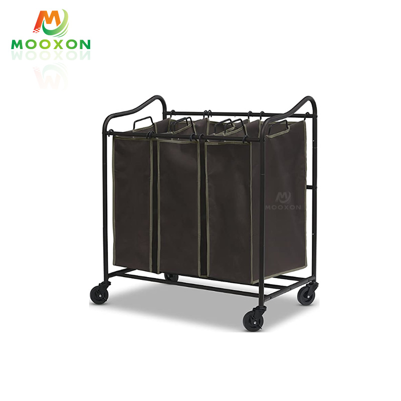 Standing Hotel Service Cart Retractable Laundry Storage Trolley With Wheels