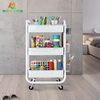Easily Assembled Household Spacing Saving Metal Material Trolley Cart With Drawers