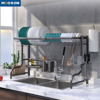 Kitchen Over The Sink 2 Tier 201 Stainless Steel Dish Drainer Rack Storage Holders