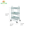 Easy To Instal 3-Tier Metal Rolling Utility Cart Heavy Duty Mobile Storage Organize