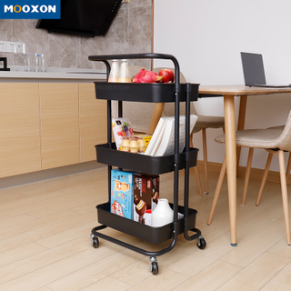 3 Layer Plastic Rolling Cart Home Storage Organizer With Castors For Kitchen Bathroom Serving Utility Metal Trolley Rack