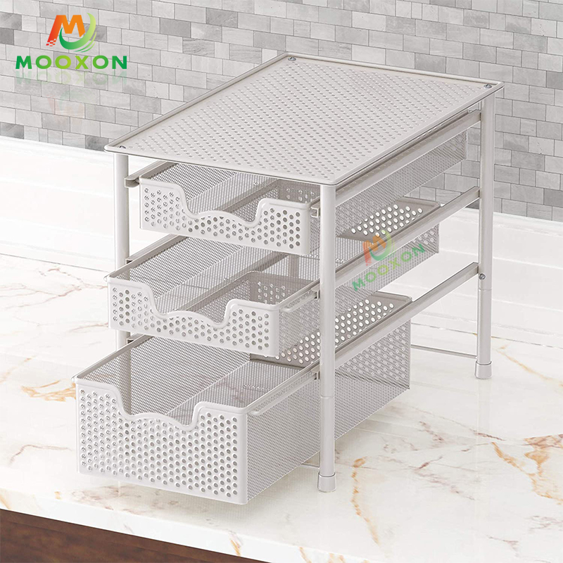 Space Saving Adjustable 2 Tier Under The Sink Shelf Stackable Storage Holders