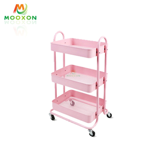 3-Tier Metal Mesh Kitchen Storage Organizer Rolling Storage Cart with Utility Handle