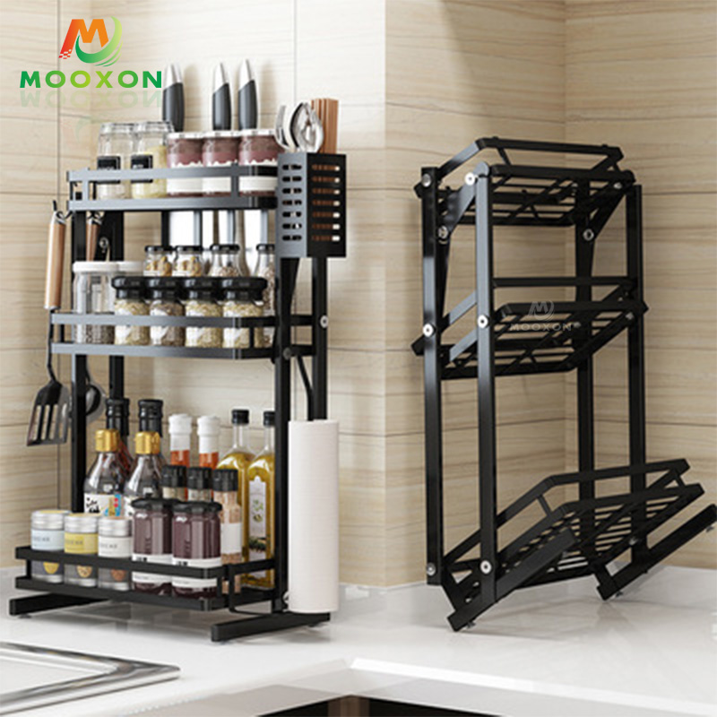 Three-Layer Stepped Metal Standing Jar Container Shelf Storage Holder Spice Rack