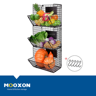 Metal Wire Stacking Kitchen Storage Bins Stackable Basket Rack For Holders