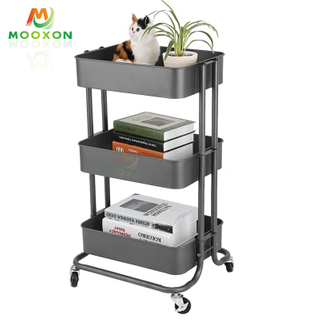 Modern Style Kitchen Organizer 3 Tiers Storage Holders Trolley Racks
