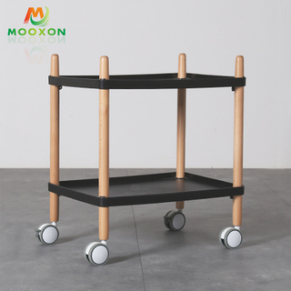 Nordic Simple 2 Tier Standing Type Hotel Service Cart Storage Holder Trolley Rack