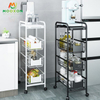 4 Tiers Metal Utility Cart Home Kitchen Mobile Rolling Storage Trolley Cart