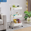 Good Capacity Indoor 3 Tier Storage Holder Rolling Hand Cart With Four Wheel