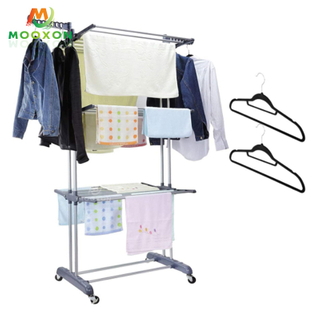 Space Saving Home Storage Shelf Foldable Clothes Rack Hanger With Wheel