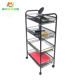 Kitchen Multifunction Mobile Metal Shelves 3/4/5 Tier Storage Rolling Cart