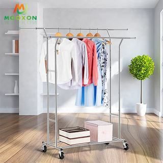 Easy To Install Adjustable Home Double Pole Clothes Rack Display With Wheels
