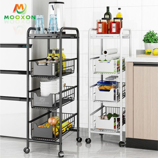 Kitchen Spice Rack Shelving Rolling Cart Vegetable Fruit Storage Bathroom Trolley