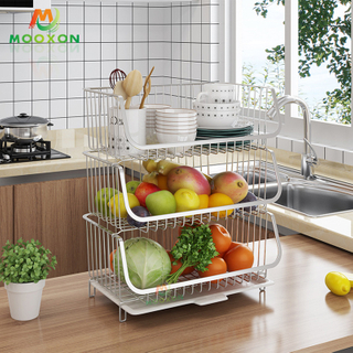 2/3 Tier Stainless Steel Standing Stacking Shelf Mesh Supermarket Storage Wire Basket Stackable