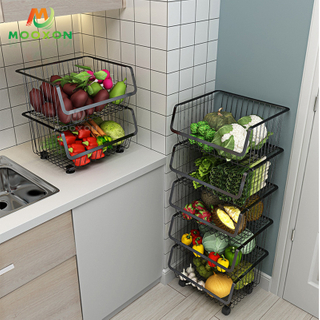 Kitchen Stackable Organizer Basket Vegetable Fruit Storage Shelves Trolley Cart