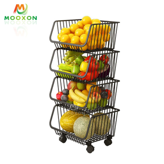 Multifunctional 4 Tier Rolling Trolley Storage Bins Vegetables And Fruit Stackable Storage Basket