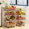 3/4 Tier Stainless Steel Stackable Organiser Rolling Metal Wire Baskets Kitchen Trolley