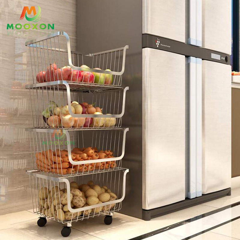 Open Front 3 Tier Rolling Utility Cart Rack Wire Stackable Basket For Vegetables Fruit Storage