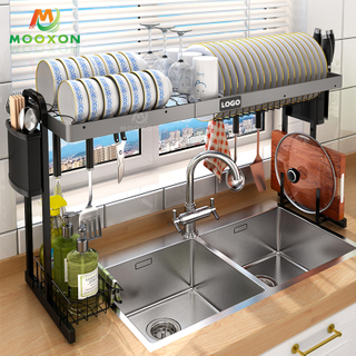 Logo Customized Over The Sink Expandable Kitchen Metal Dish Rack