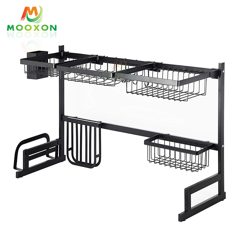 2020 2 Tier 79cm Stainless Steel Black Over The Sink Drying Dish Racks