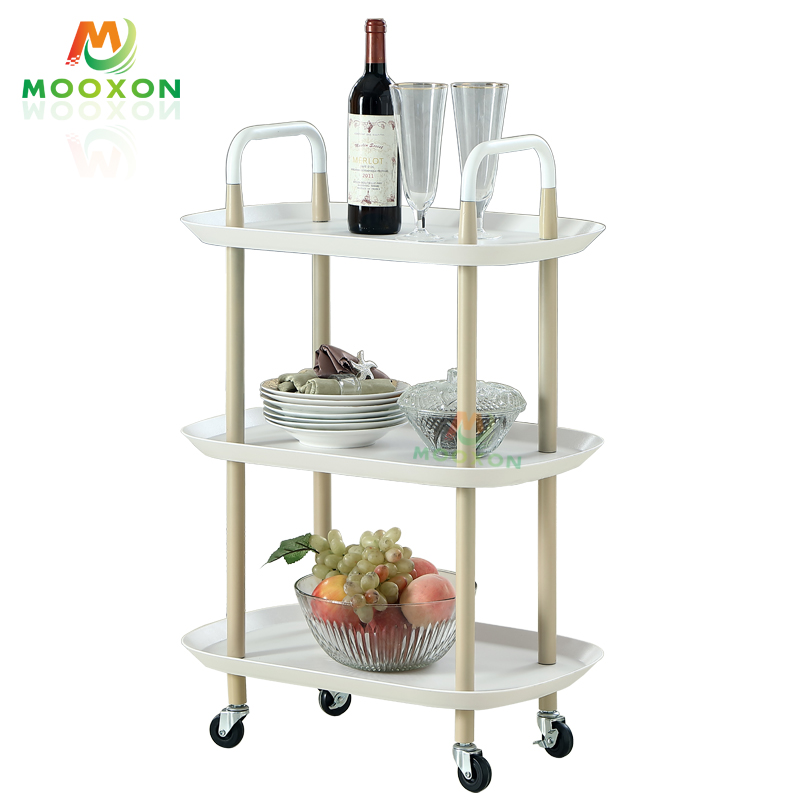 2/3 Tier Home Storage Shelves Rolling Organizer Nordic Trolley Storage Cart With Wheel