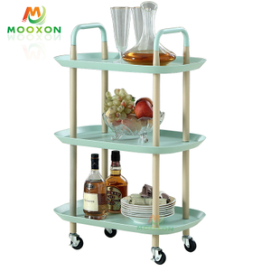 3 Tier Nordic Baskets Utility Kitchen Organizer Trolley Rack Rolling Storage Cart