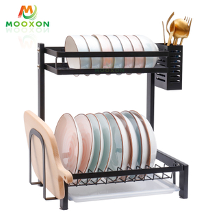2/3 Tiers Stainless Steel Dishes Drainer Storage Shelf Kitchen Stand Bowl Plate Dish Rack