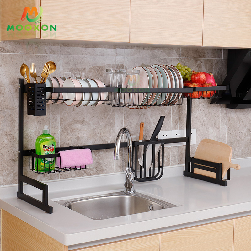 Kitchen Organizer Storage Holders Stainless Steel Over Sink Dish Drainer Hanger Rack