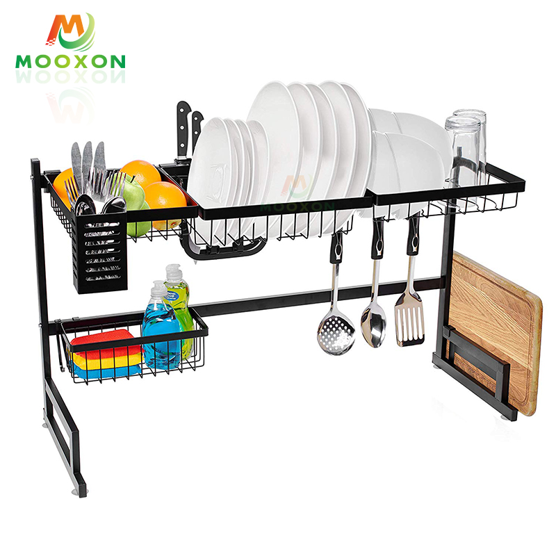 95cm Space Saver Kitchen Organizer Plate Holder Dish Drying Storage Shelf Drainer Rack