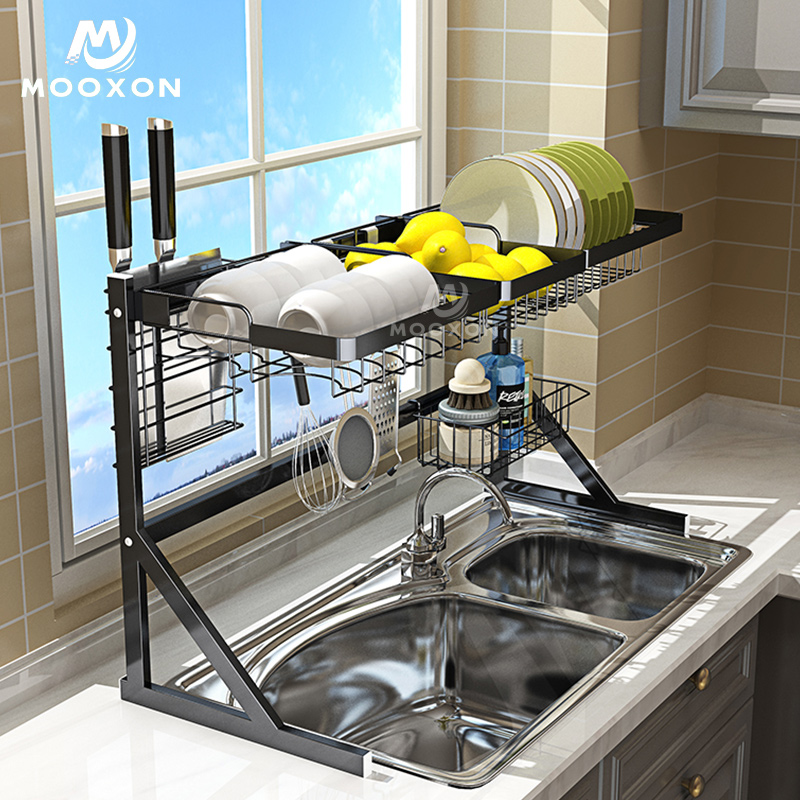 Kitchen Organizer Dish Drying Rack Over The Sink With Utensil Holders