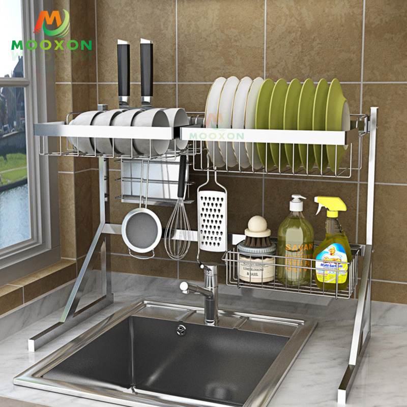 Stainless Steel 84cm Black Drying Holders Kitchen Storage Over The Sink Dish Drainer Rack