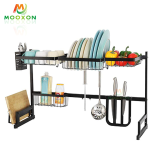 Foldable Plate Dryer Dish Drainer Adjustable Drying Retractable Dishes Rack