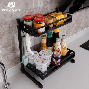 2/3 Tiers Kitchen Cabinet Chopstick Stand Jar Holder Shelf Organizer Storage Shelves Stainless Steel Spice Rack