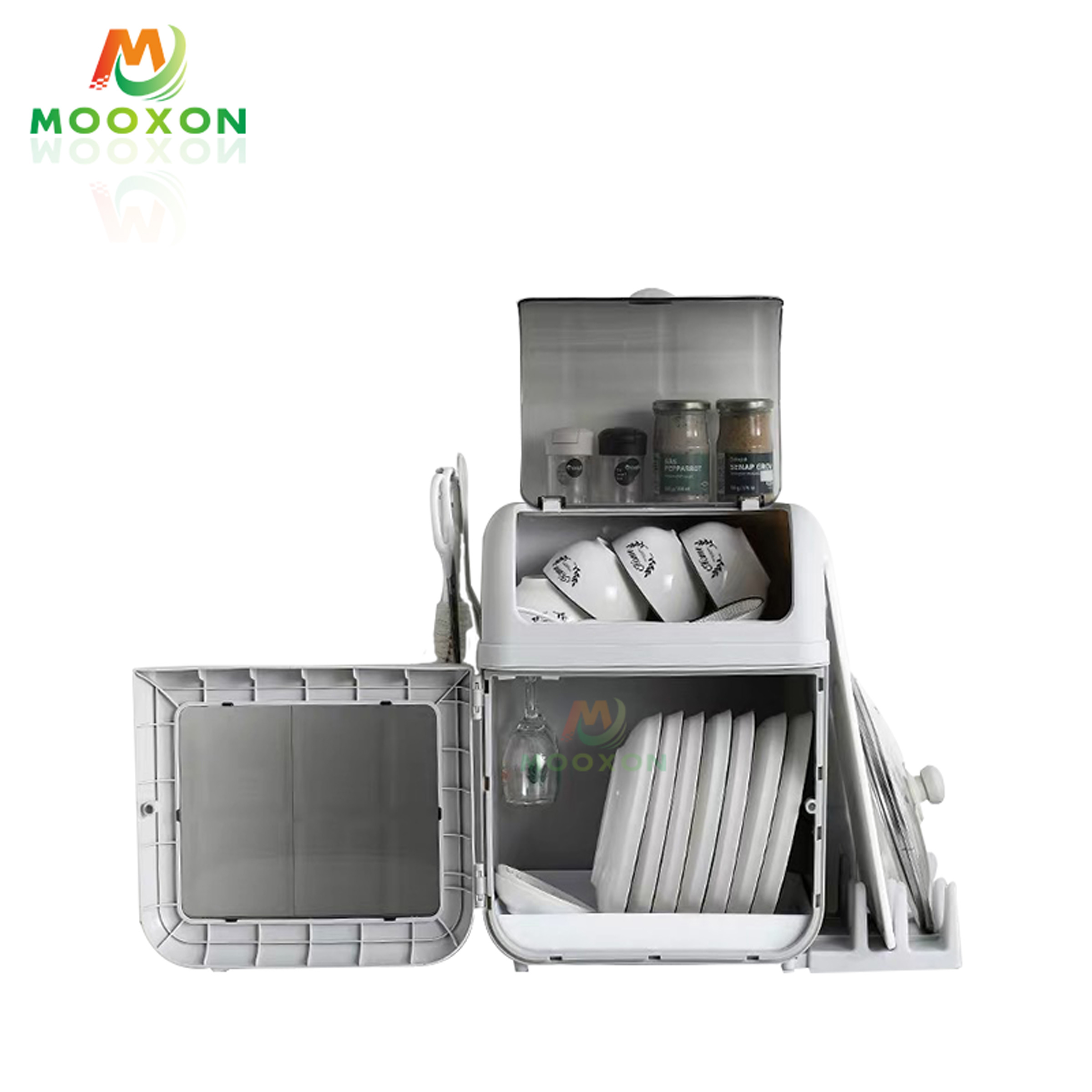 2 Tiers Kitchen Organizer Standing Cutlery Shelf Storages And Holders Box Dish Drying Rack